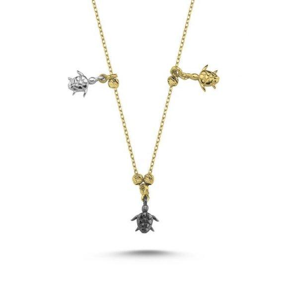 Angemiel 925 Gümüş Kaplumbağa Desenli Taşsız Sallantılı Kolye - Altın Kaplama