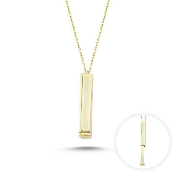Angemiel 925 Gümüş Taşsız Açılır Çubuk Kolye - Altın Kaplama