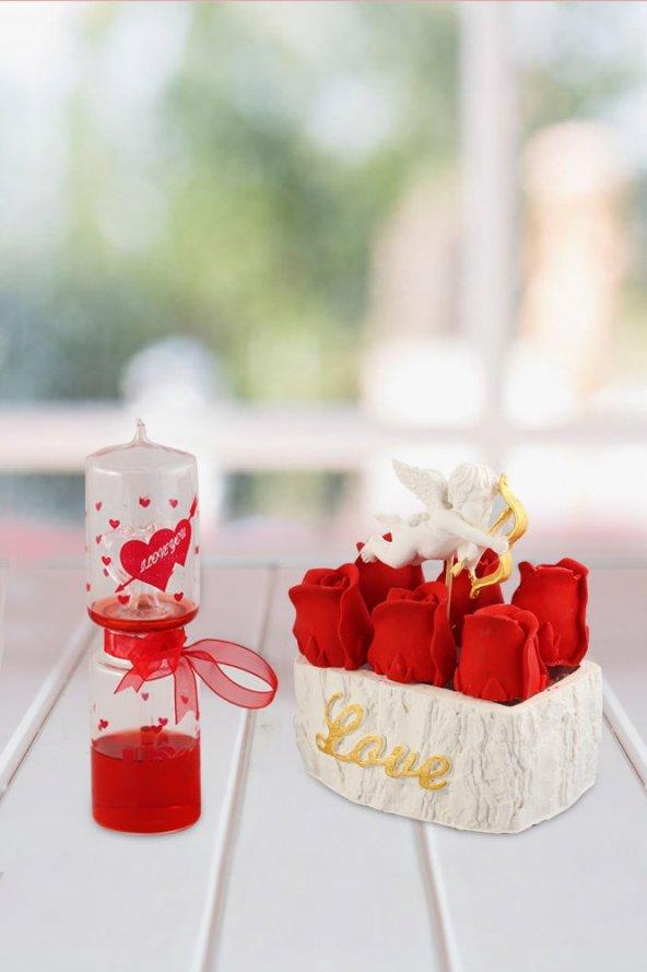 Angemiel Ölümsüz Çiçek Aşk Meleği Sevgi Ölçer İle Kokulu Hediye Sepeti