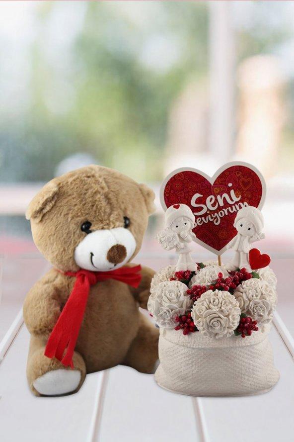 Angemiel Ölümsüz Çiçek Seni Seviyorum Çiçek  Sevimli Ayıcık Kokulu Hediye Sepeti