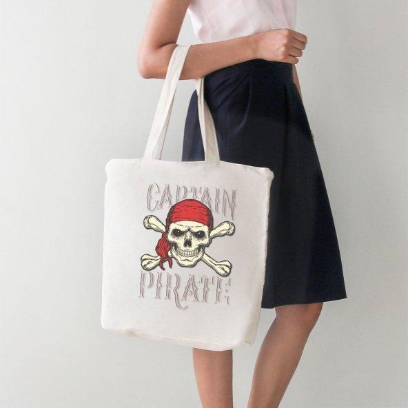 Angemiel Bag Captan Pirate Kadın Büyük Alışveriş Plaj Bez Çanta