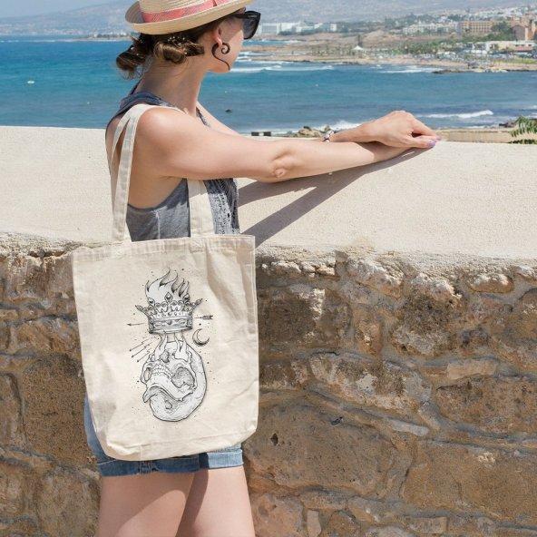 Angemiel Bag Alevli Kral Kuru Kafa Alışveriş Plaj Bez Çanta