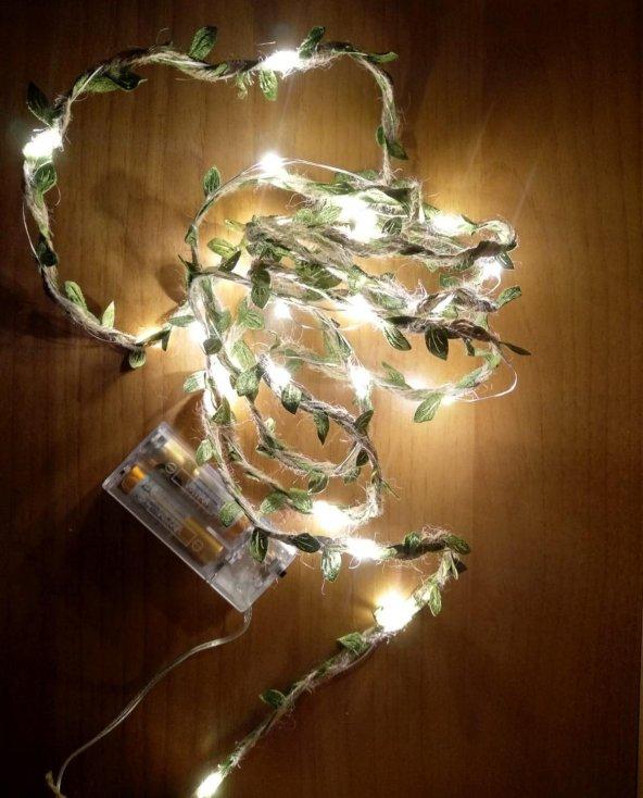 Dekoratif 2.5 Metre Yaprak Desenli İp Sarılı Peri Led Işık Süs