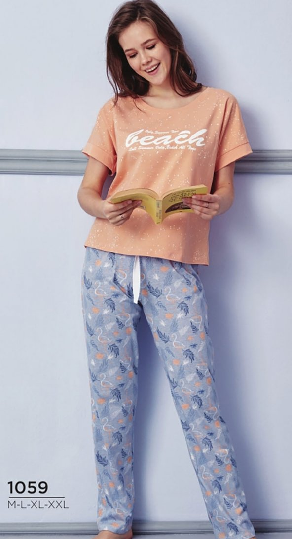 Kuğu Desen Detaylı Pijama Takımı BB-1059