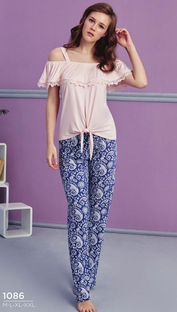 Desen Detaylı Dantelli Pijama Takımı BB-1086