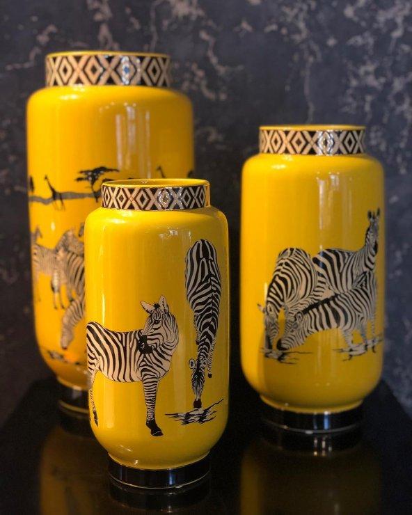 Zebra Desenli Sarı 3lü Vazo Seti