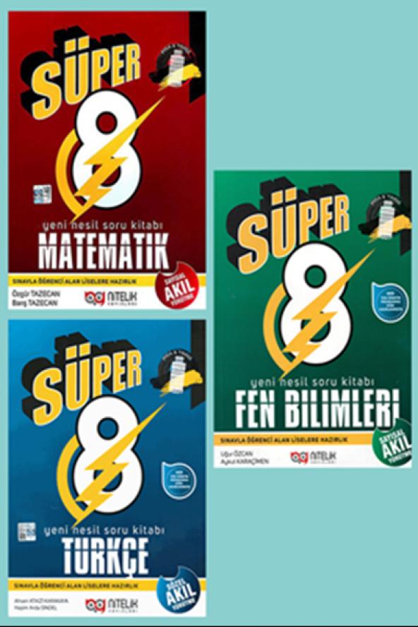 Süper 8. Sınıf Matematik, Türkçe, Fen Bilimleri Set Nitelik Yayın