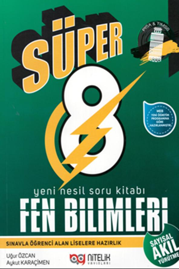 Süper 8. Sınıf Fen Bilimleri Yeni Nesil Soru Kitabı Nitelik Yayınları