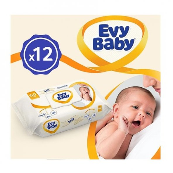 Evy Baby Islak Havlu Soft 56x12li Aylık Ekonomik Paket