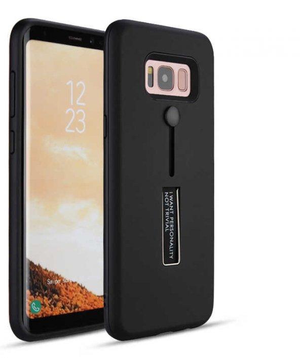 Galaxy Grand Prime Kılıf Zore Olive Standlı Sert Kapak + Cam Ekra