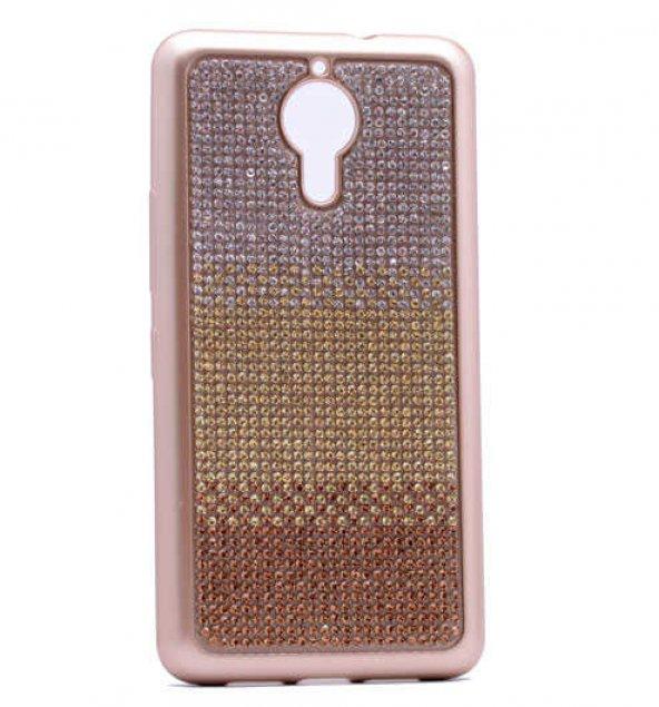 General Mobile 5 Plus Kılıf Mat Lazer Taşlı Silikon Kapak + Cam E
