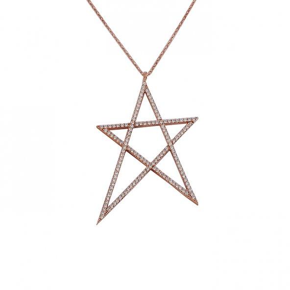 Yıldız Model Taşlı Gümüş Kolye