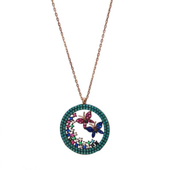 Kelebek motifli firüze taşlı bayan gümüş kolye