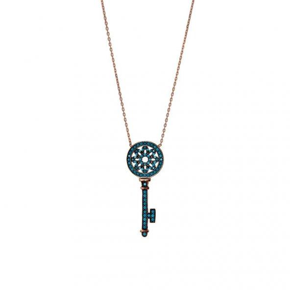 Anahtar firuze taşlı bayan gümüş kolye