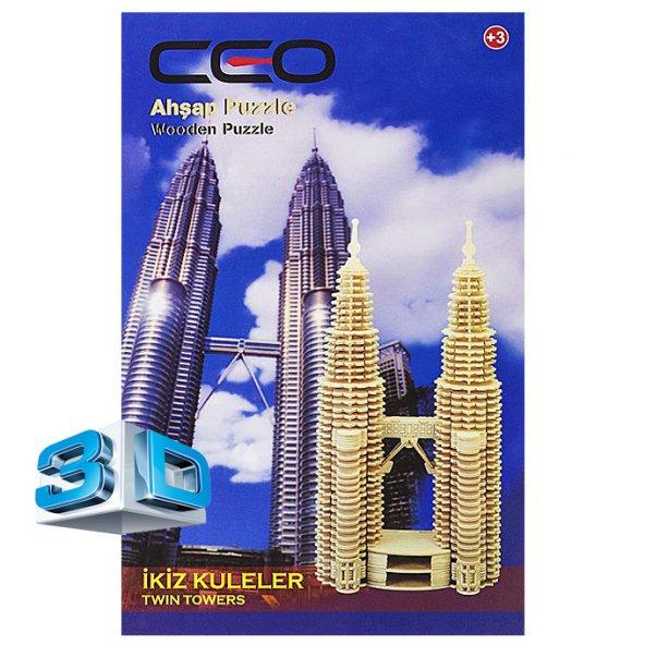 CEO 3D AHŞAP PUZZLE İKİZ KULELER CEO-AP0006