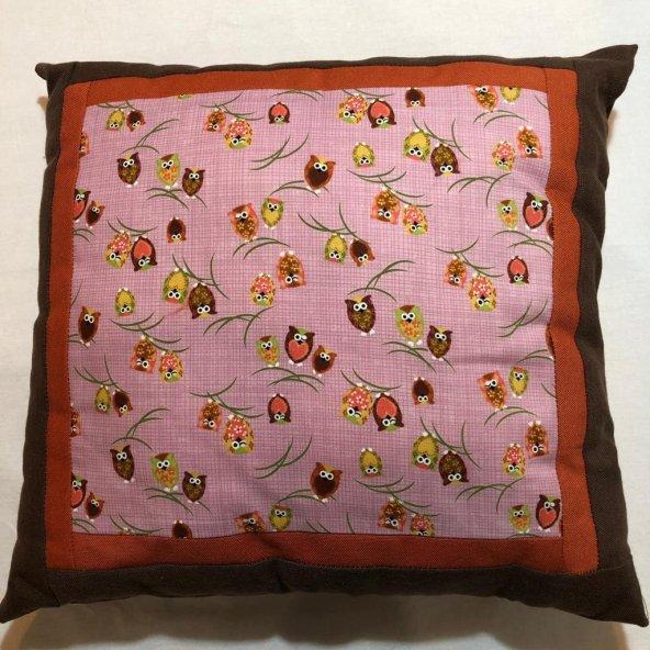 El yapımı Baykuşlu Kırkyama - Patchwork Yastık