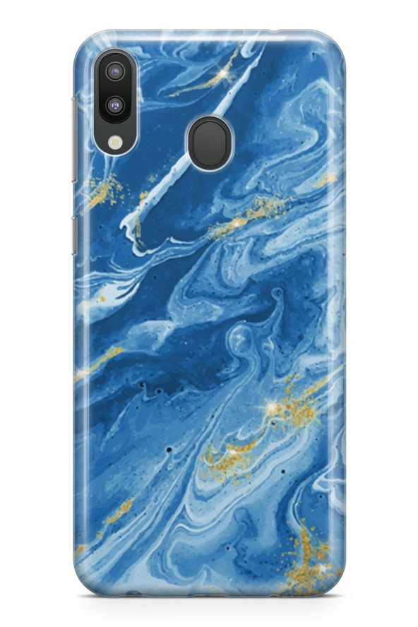 Samsung Galaxy M20 Kılıf Marble Mermer Serisi Mavi
