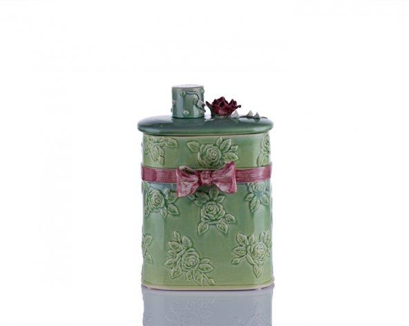 Porio M70-112 - Kapağı Çiçekli Dikey Yeşil Kutu