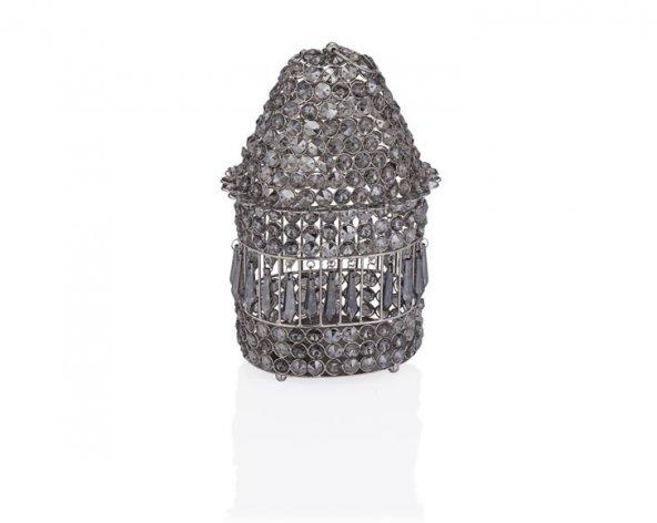 Porio PR37-1022 - Gümüş Füme Kristalli Ev Şekilli Mumluk 16*16*26