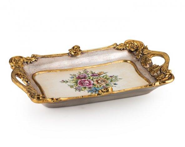 Porio Pr58-1048-Altın Çiçek Desenli Kulplu Tepsi 42*26