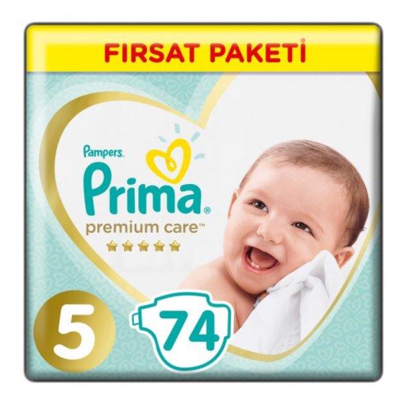 Prima Premium Care 5 Numara 74 Adet Bebek Bezi Avantajlı Paket