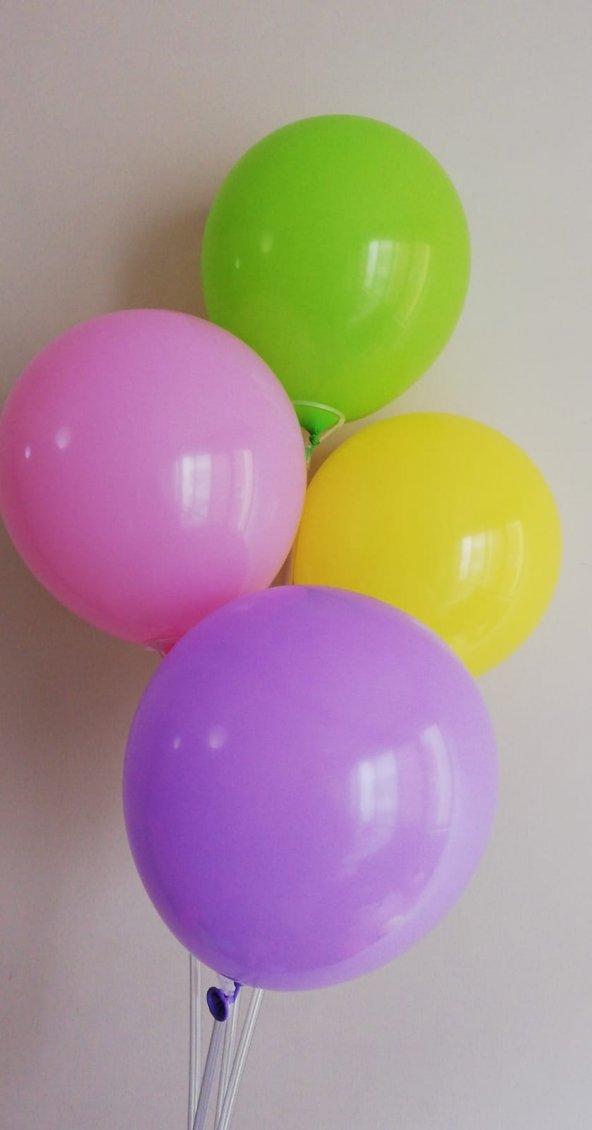 50 Adet Karışık Renkli Baskısız Balon