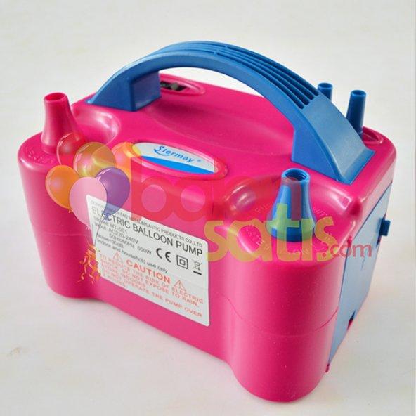 Çift Çıkışlı Balon Şişirme MakinasI-Pembe Renkli