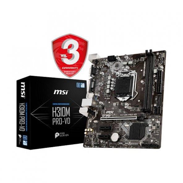 MSI H310M PRO-VD LGA1151P8 DDR4 VGA+Ses+GLan  Sata