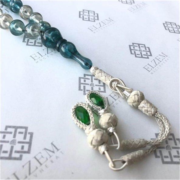 Karma Yosun Yeşili 1000 Ayar Gümüş Kazazlı Toz Kehribar Tesbih