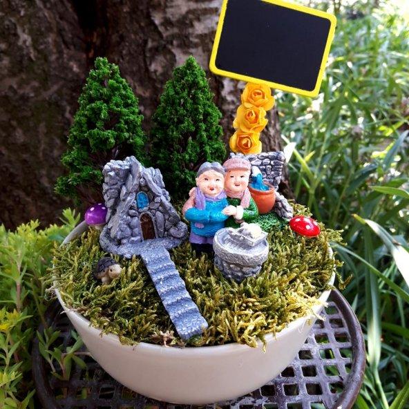 Yaşlı Çift Sonsuz Aşk Minyatür Bahçe