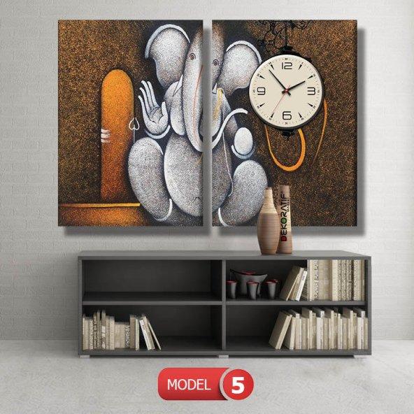 fil resimli tablolar- saatli kanvas tablo MODEL 1 - 162x75 cm