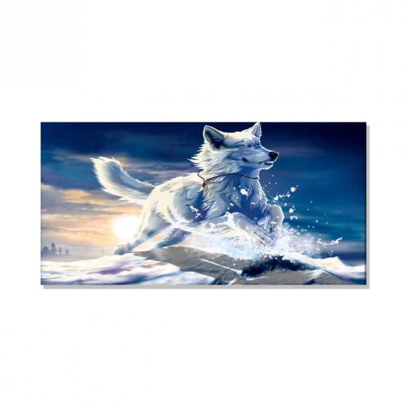 Beyaz Kurt  Kanvas Tablosu 50 cm x 100 cm