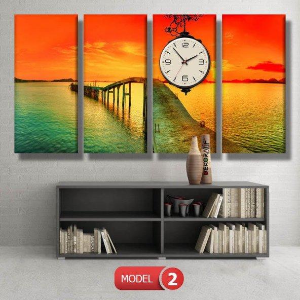 gün batımı iskele tabloları- saatli kanvas tablo MODEL 4 - 96x90 cm