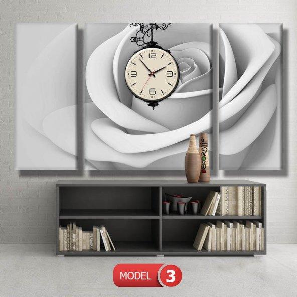 kirli beyaz gül tabloları- saatli kanvas tablo