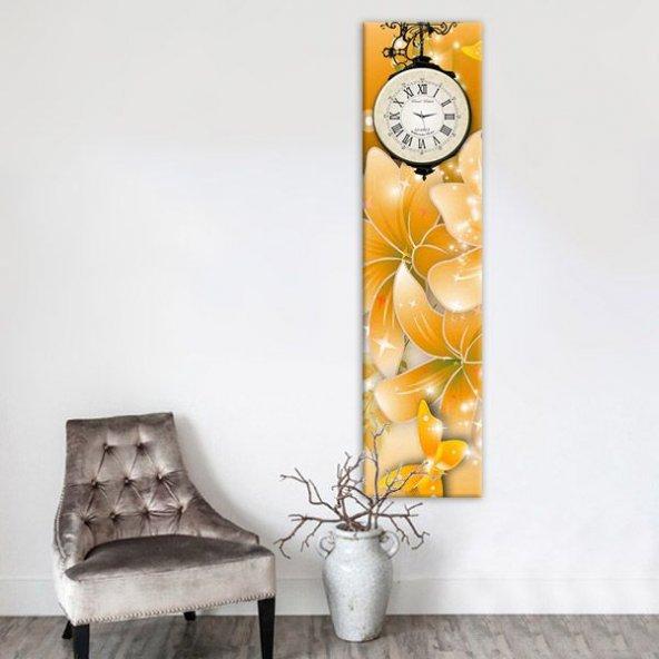 Sarı Flowers 25x100cm Dekoratif Kanvas Tablo Saat