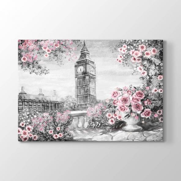 Siyah Beyaz - Pembe Güller Duvar Tablosu 60 x 90 cm