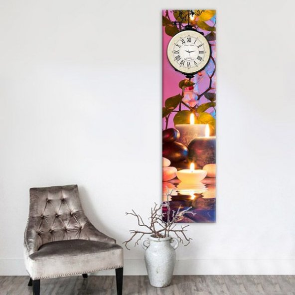 Led Işıklı 25x100cm Dekoratif Kanvas Tablo Saat