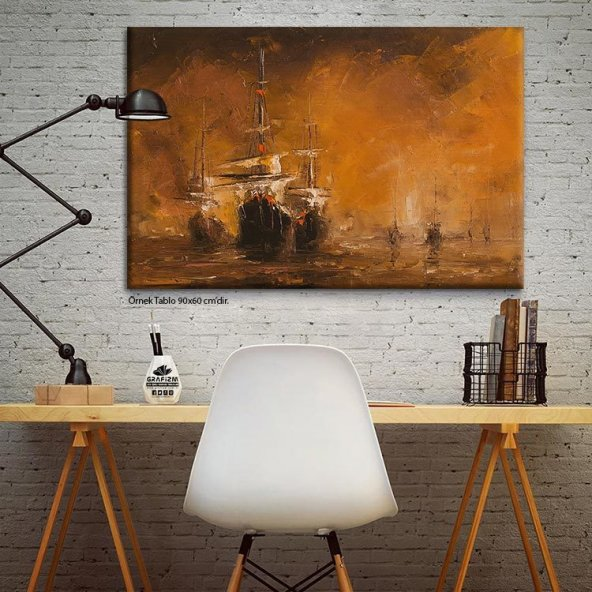 Yağlıboya Görünümlü-Gemili Tablo 60 x 90 cm