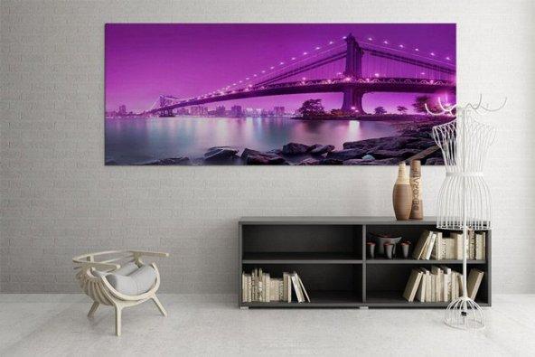 125x60 cm New York Purple Ledli Tablo