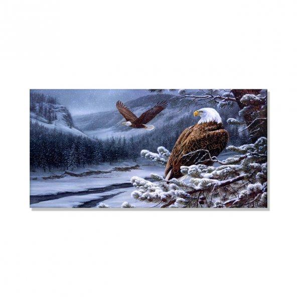Kartal Ve Doğa  Kanvas Tablosu 70 cm x 140 cm