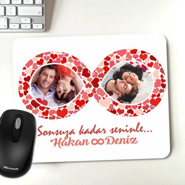 Sonsuz Aşk Fotoğraf ve İsim Baskılı Mousepad