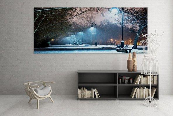 Sokak Lambaları Park 125x60 cm Led Işıklı Kanvas Tablo