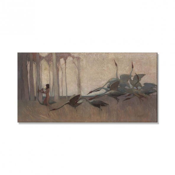 Sydney Long Spirit Of The Plains  Kanvas Tablosu 40 cm x 80 cm