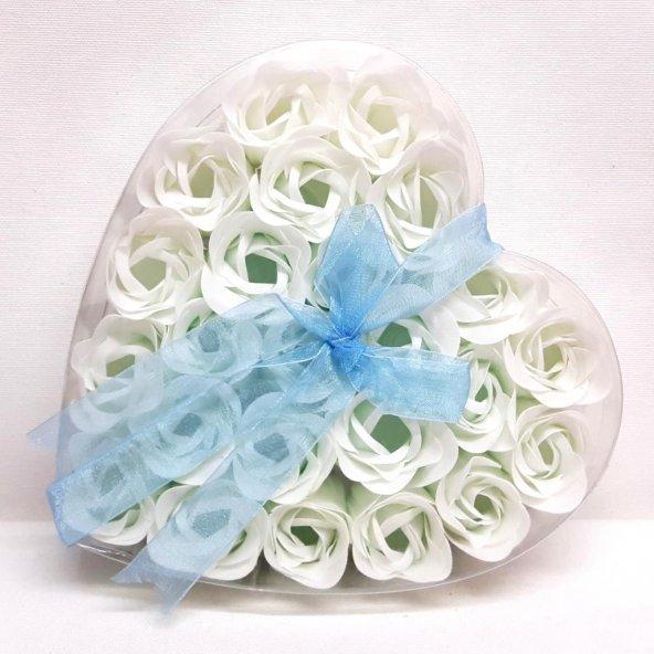 Kalpli Şeffaf Kutuda 24 Adet Kokulu Beyaz Sabun Gül