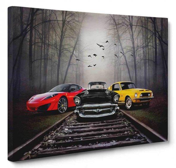 Arabalar Siyah-Beyaz Kanvas Tablo 100 x 140 cm