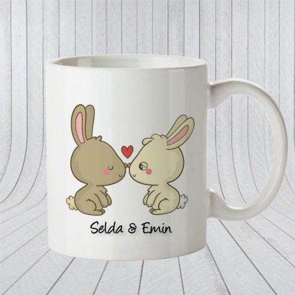 Kişiye Özel İsimli Romantik Tavşan Beyaz Kupa Bardak