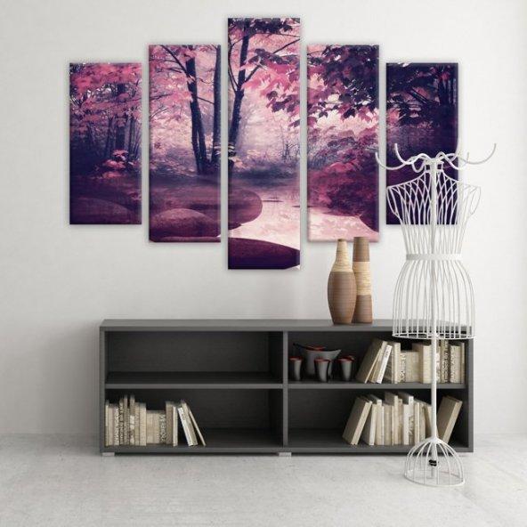 5 Parçalı Kanvas Tablo-Pembe Ağaçlar  Kanvas Tablosu ORTA BOY