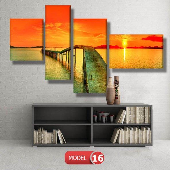 gün batımı iskele tabloları MODEL 12 - 123x90 cm