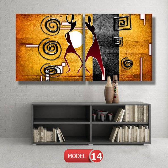 Afrika Motifli Soyut Tablolar MODEL 15 - 96x90 cm