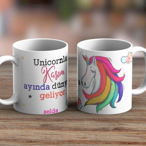 Kişiye Özel İsimli Unicorn Beyaz Kupa -05